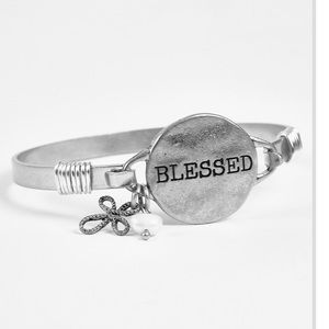 🎁Great gift! Blessed engraved silver bracelet